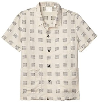 Billy Reid Short Sleeve Camp Shirt (Natural/Black) Men's Short Sleeve Button Up