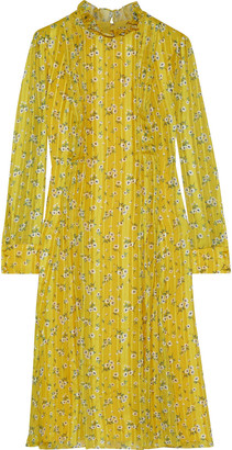 Mikael Aghal Pintucked Floral-print Jacquard Dress