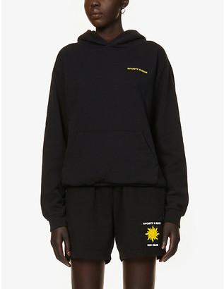 Sporty & Rich Sun Club logo-print cotton-jersey hoody