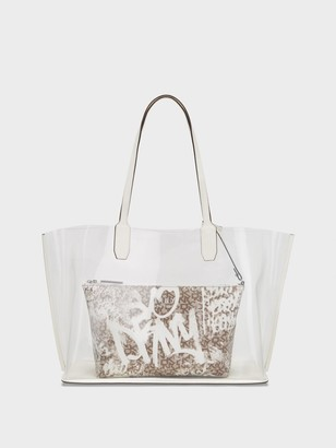 DKNY Women's Stadium Clear Tote With Graffiti Pouch - Clear/Graffiti - Size N/S