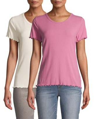 Time and Tru Women's Lettuce Edge T-Shirt, 2-Pack Bundle