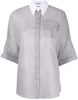 Brunello Cucinelli Stripe Contrast Collar Shirt