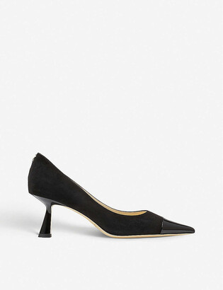 Jimmy Choo Rene 65 suede and patent leather heeled courts
