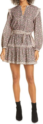 La Vie Rebecca Taylor Floral Mix Belted Long Sleeve Minidress
