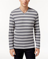 Alfani Men's Stretch Ribbed V-Neck Striped Sweater, Created for Macy's