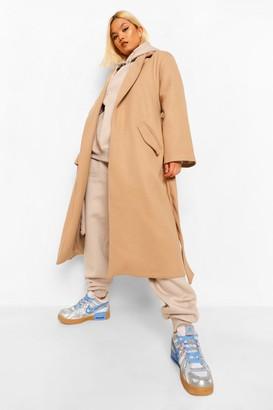 boohoo Petite Belted Wool Look Maxi Coat