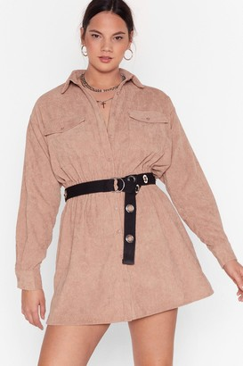 Nasty Gal Womens Grab Your Cord Plus Shirt Dress - Stone