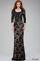 Jovani Quarter Length Sleeve Square Neck Lace and Crystal Embellished Sheath Dress 26877