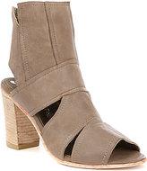 Free People Effie Leather Peep Toe Side Cutout Stacked Block Heel Shooties