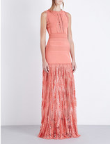 Elie Saab Stretch-knit and floral-lace gown