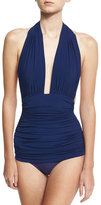 Norma Kamali Bill Ruched Halter Maillot Swimsuit, Navy