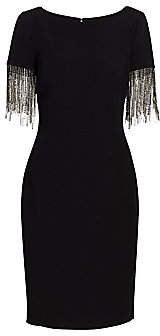 Badgley Mischka Women's Crystal Fringe-Sleeve Sheath Dress - Size 0