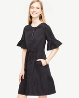 Ann Taylor Fluted Sleeve Poplin Shirt Dress