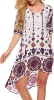 ACEVOG A-line Floral Print Formal Stylish Skater Dress for Women