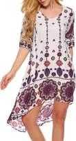 ACEVOG Evening Cotton High-Low Loose Cotton Tunic Dress for Women