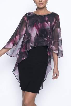 Frank Lyman Knee Length Cocktail Floral Overlay Dress