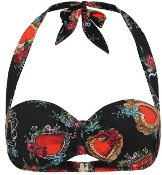 Dolce & Gabbana Printed halter bikini top
