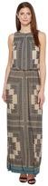London Times Sleeveless Printed Blouson Maxi Dress