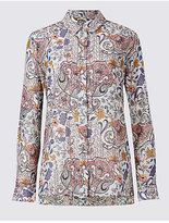 Classic Cotton & Silk Blend Paisley Print Shirt