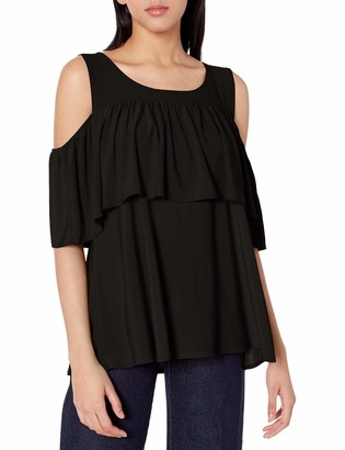 Star Vixen Women's Off/Cold Shoulder Dramatic Ruffle Peasant Top