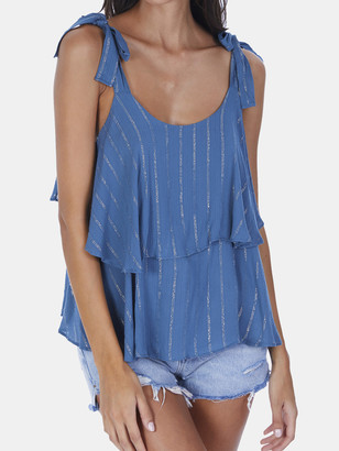 Allison Ny Metallic Stripe Tiered Tank