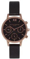 Olivia Burton Women's Midi Chrono Detail Watch Black/Rose Gold