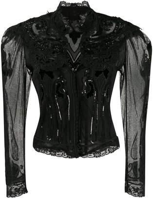 Etro sheer lace cropped jacket