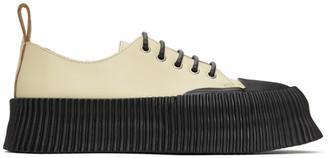 Jil Sander Beige Vulcanized Rubber Sole Sneakers