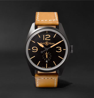 Bell & Ross Br 123 Heritage Automatic 41mm Pvd-Coated Steel And Leather Watch