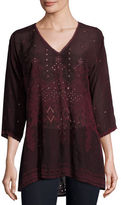 Johnny Was Falling Star Embroidered Georgette Blouse, Plus Size