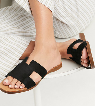 New Look Wide Fit flat mule sandals in black