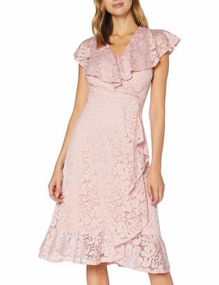 Yumi Women's Ruffle Overlay Lace Midi Dress Casual