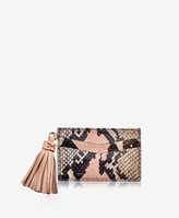 GiGi New York Slim Card Case with Tassel, Rose Wash Embossed Python