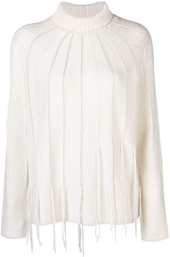 Fabiana Filippi fringed turtleneck jumper