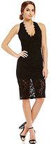 Jump Plunging V-Neck Midi Length Lace Sheath Dress