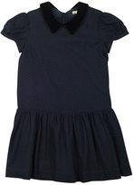 Bonpoint Swiss Dot Velvet-Trim Dress, Navy, Size 3-8