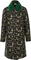 RED Valentino Insect Brocade Coat With Mink Fur Collar