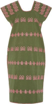 Pippa Holt Two-Tone Embroidered Cotton Midi Dress