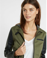 Express twill and faux leather hooded jacket