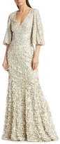 Thumbnail for your product : Theia Floral Embroidered Petal Gown