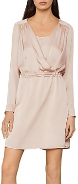 BCBGMAXAZRIA Draped Satin Above-The-Knee Dress