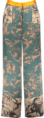 Manimekala Keban Printed Silk Wide Leg Trousers Green