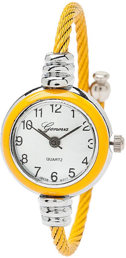 American Apparel Yellow & Silver Geneva Bangle Watch