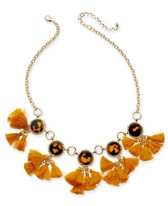 "INC International Concepts Inc Gold-Tone Tortoise-Look & Multi-Tassel Statement Necklace, 18"" + 3"" extender"
