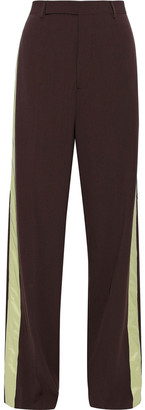 Rick Owens Shell-paneled Wool-crepe Wide-leg Pants