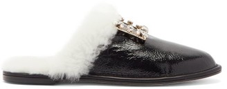 Roger Vivier Hotel Vivier Crystal-buckle Shearling Slippers - Black Cream