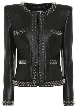 Balmain Embellished leather jacket