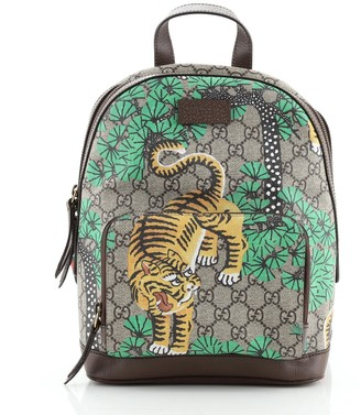 Gucci Zip Pocket Backpack Bengal Print GG Coated Canvas Small