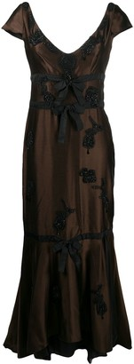 Prada Pre Owned Bead-Embellished Sheer Panel Evening Dress