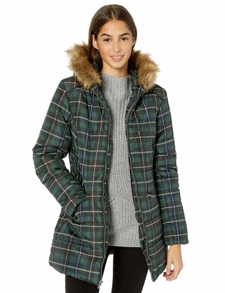 Celebrity Pink Women's Warm Winter Coat with Faux Trimmed Hood